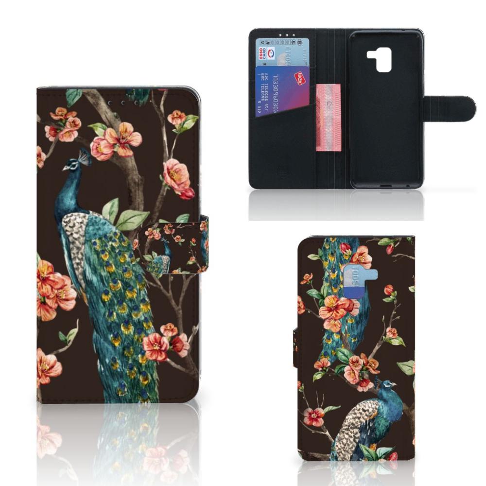 Samsung Galaxy A8 Plus (2018) Telefoonhoesje met Pasjes Pauw met Bloemen