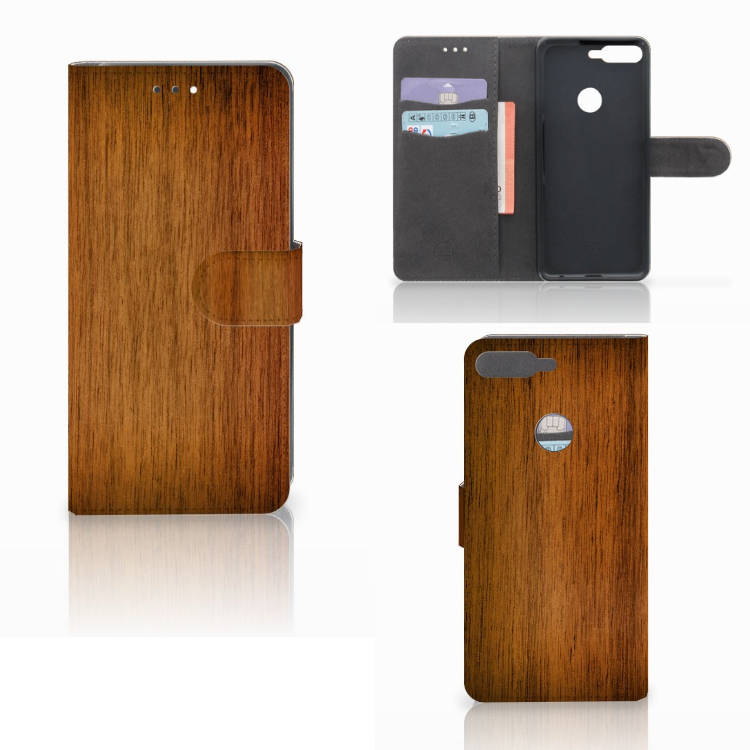 Huawei Y7 2018 Book Style Case Donker Hout