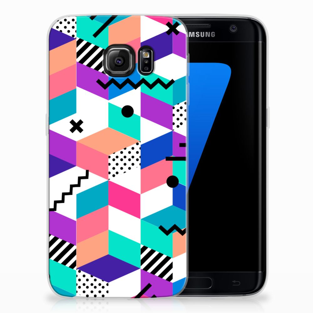 Samsung Galaxy S7 Edge TPU Hoesje Design Blocks Colorful