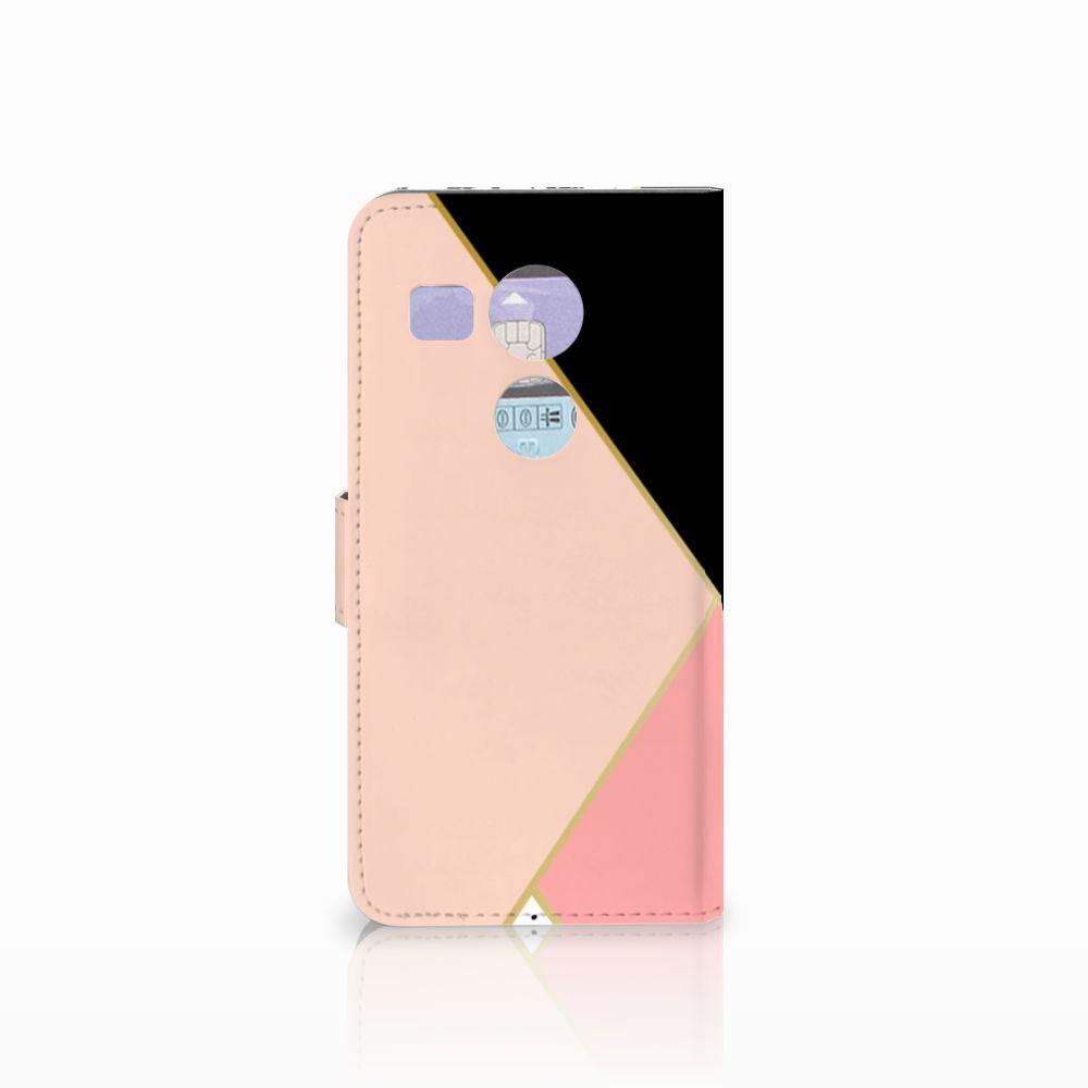 LG Nexus 5X Bookcase Zwart Roze Vormen