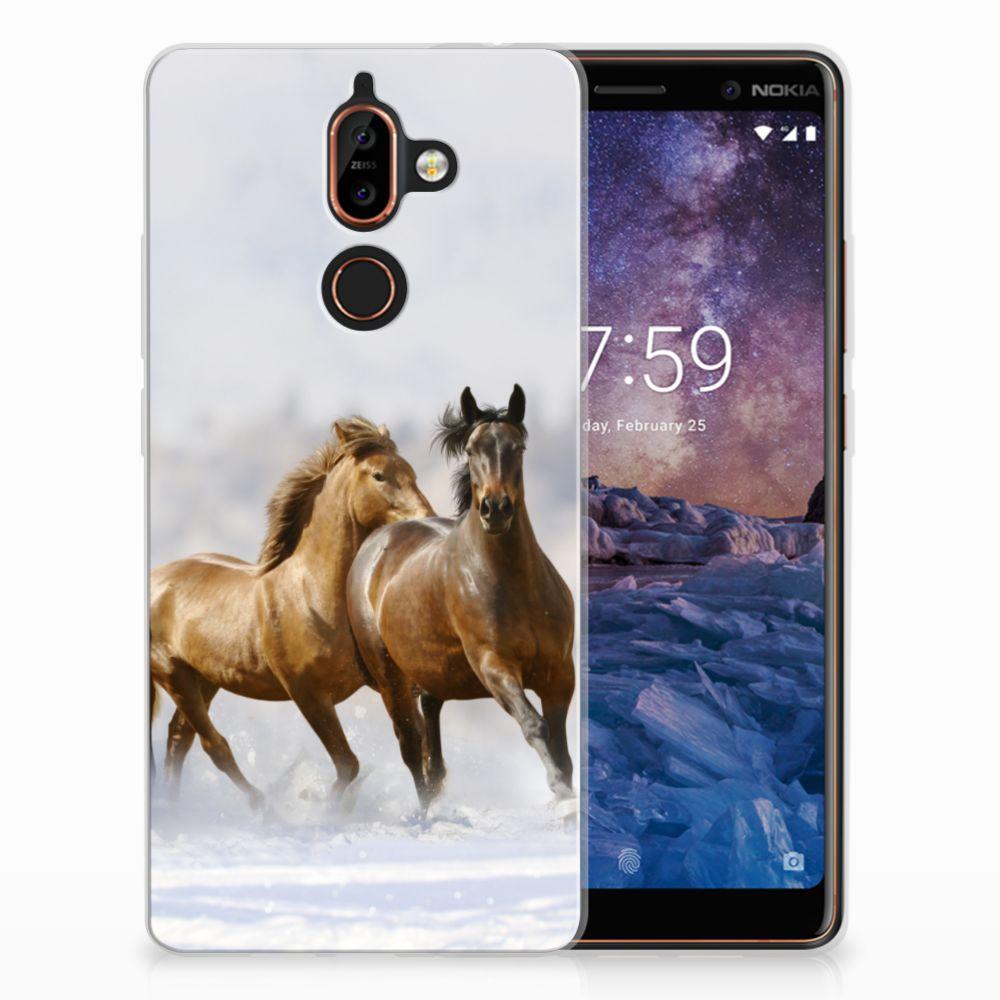 Nokia 7 Plus Uniek TPU Hoesje Paarden