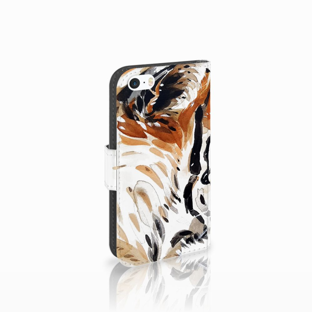 Apple iPhone 5   5s   SE Uniek Boekhoesje Watercolor Tiger