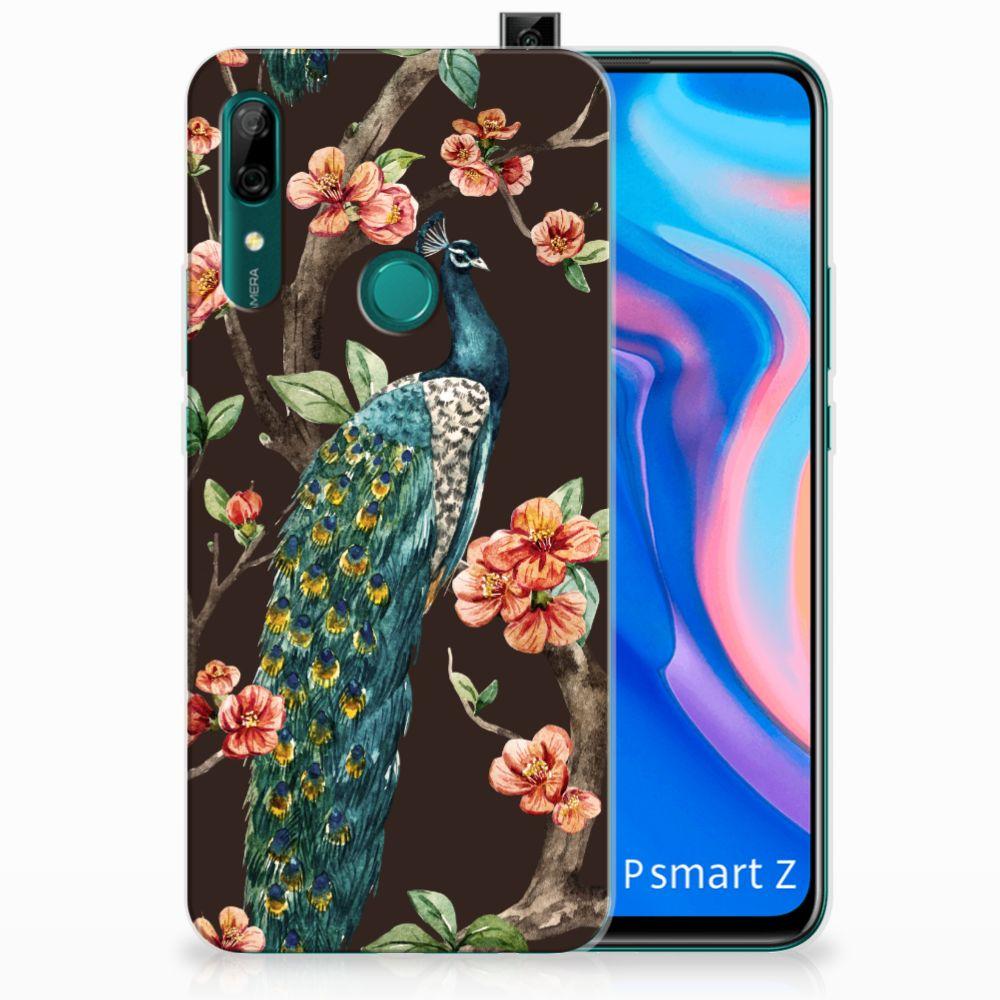 Huawei P Smart Z TPU Hoesje Pauw met Bloemen
