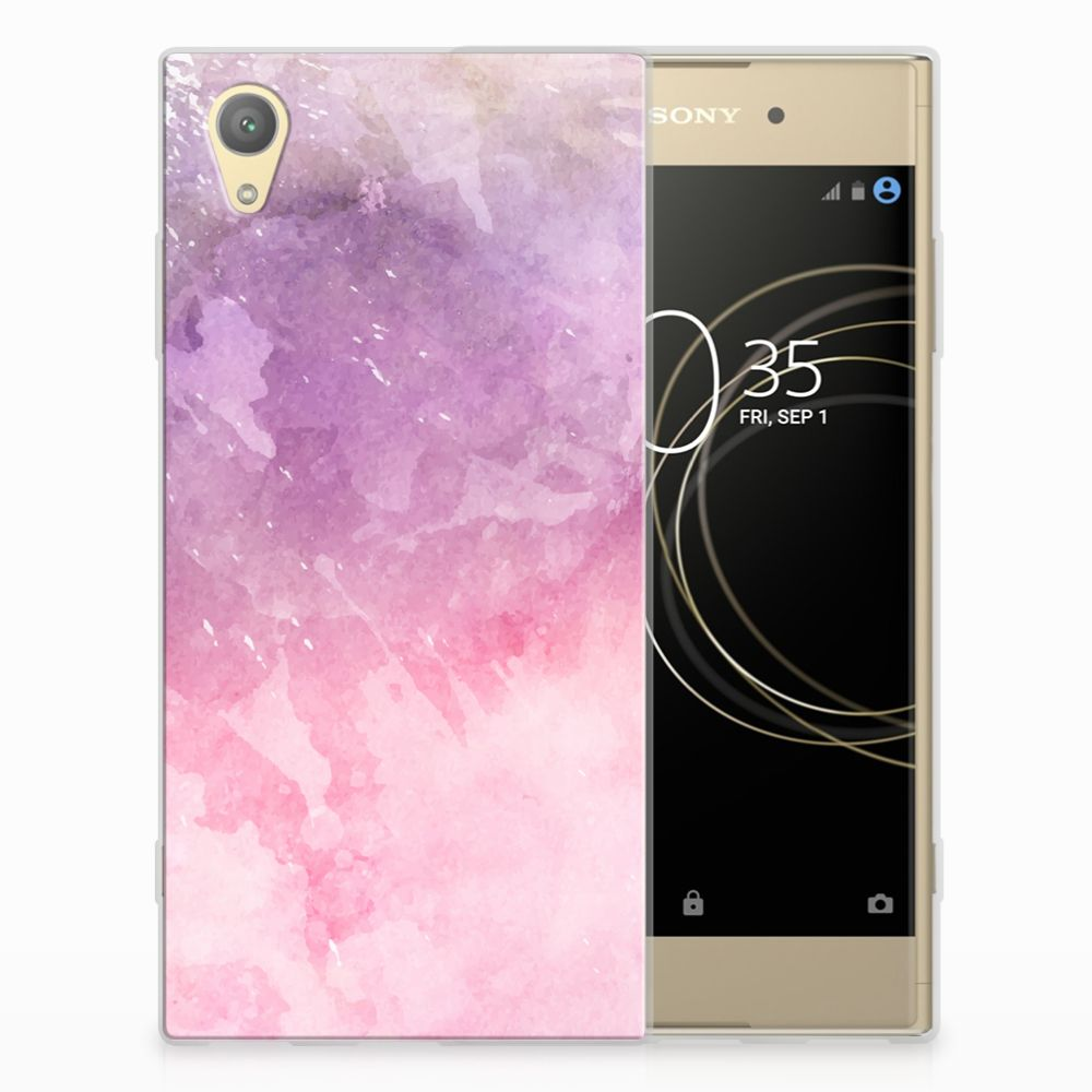 Sony Xperia XA1 Plus TPU Hoesje Design Pink Purple Paint