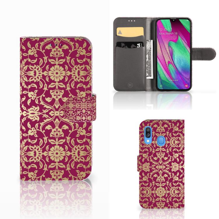 Wallet Case Samsung Galaxy A40 Barok Pink