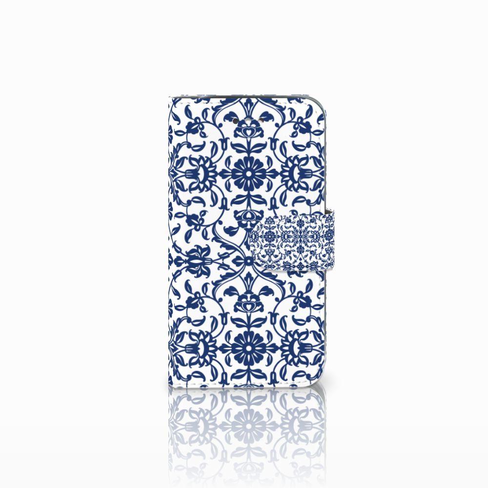 Samsung Galaxy S4 Boekhoesje Flower Blue