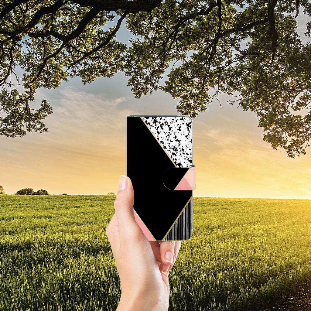 Samsung Galaxy J5 (2015) Boekhoesje Black Pink Shapes