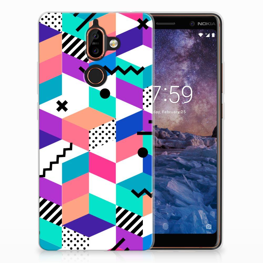 Nokia 7 Plus TPU Hoesje Blokken Kleurrijk