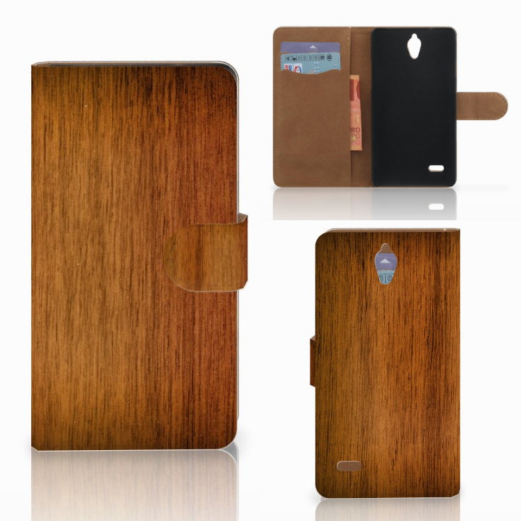 Huawei Ascend G700 Book Style Case Donker Hout