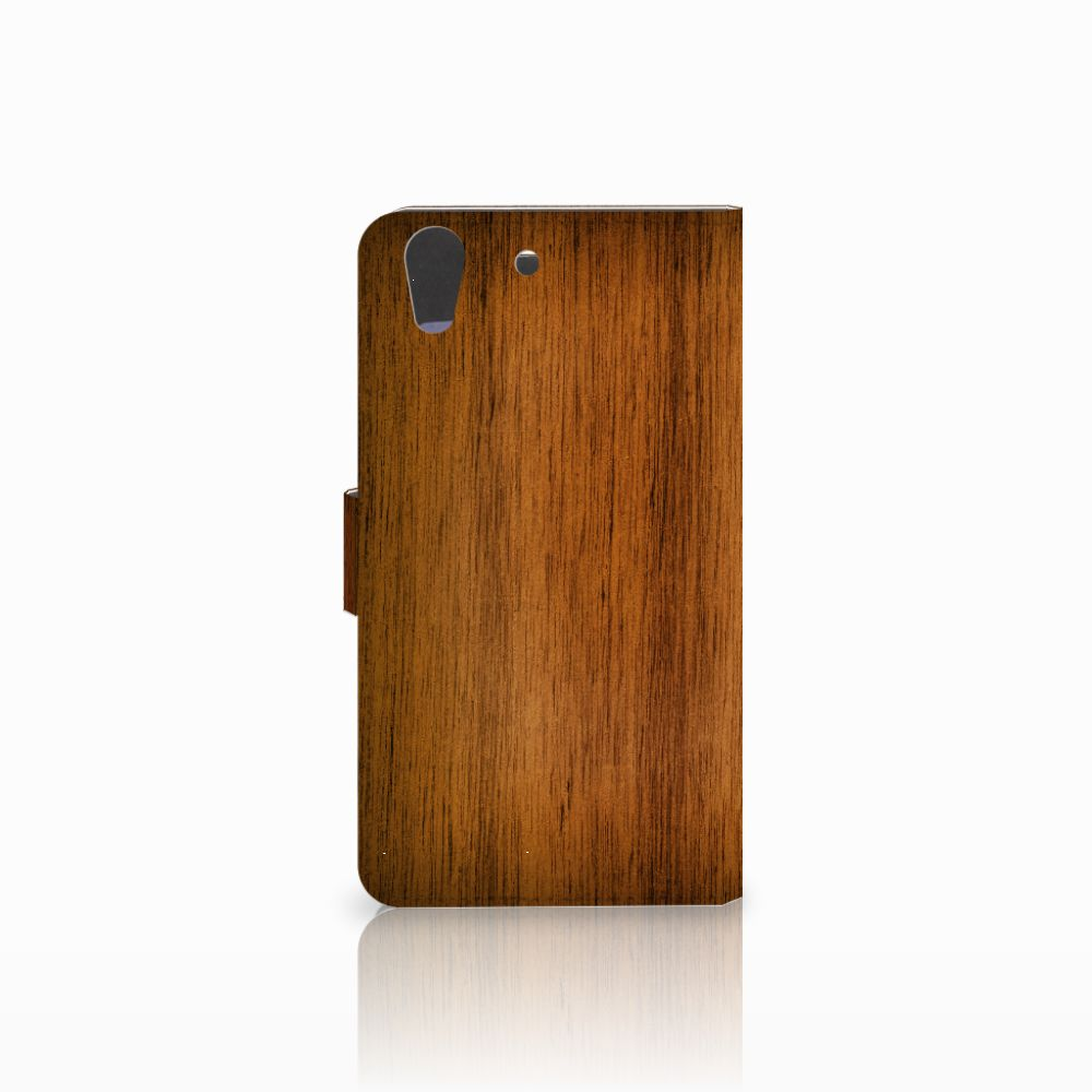 Huawei Y6 II   Honor 5A Book Style Case Donker Hout