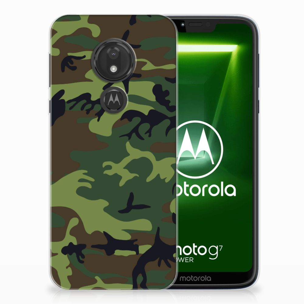 Motorola Moto G7 Power TPU Hoesje Design Army Dark