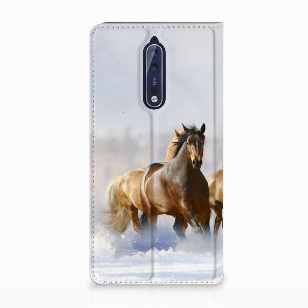 Nokia 8 Uniek Standcase Hoesje Paarden