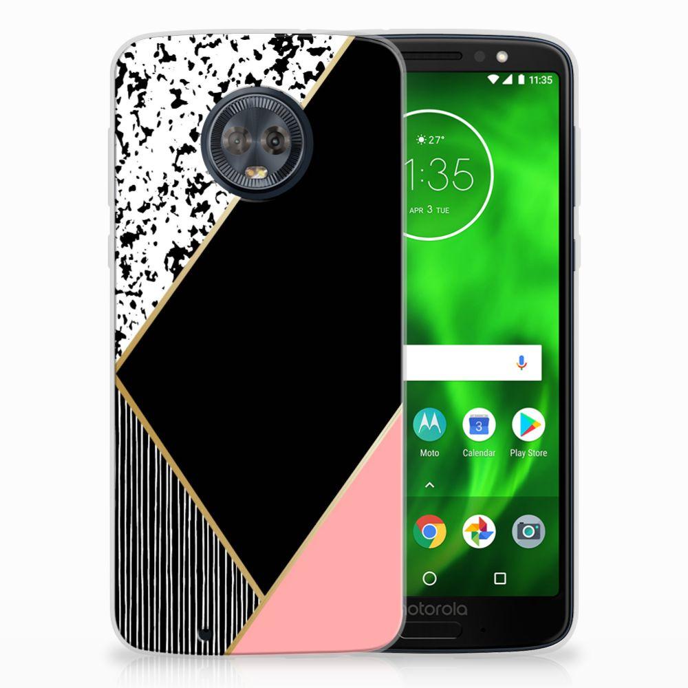 Motorola Moto G6 Uniek TPU Hoesje Black Pink Shapes