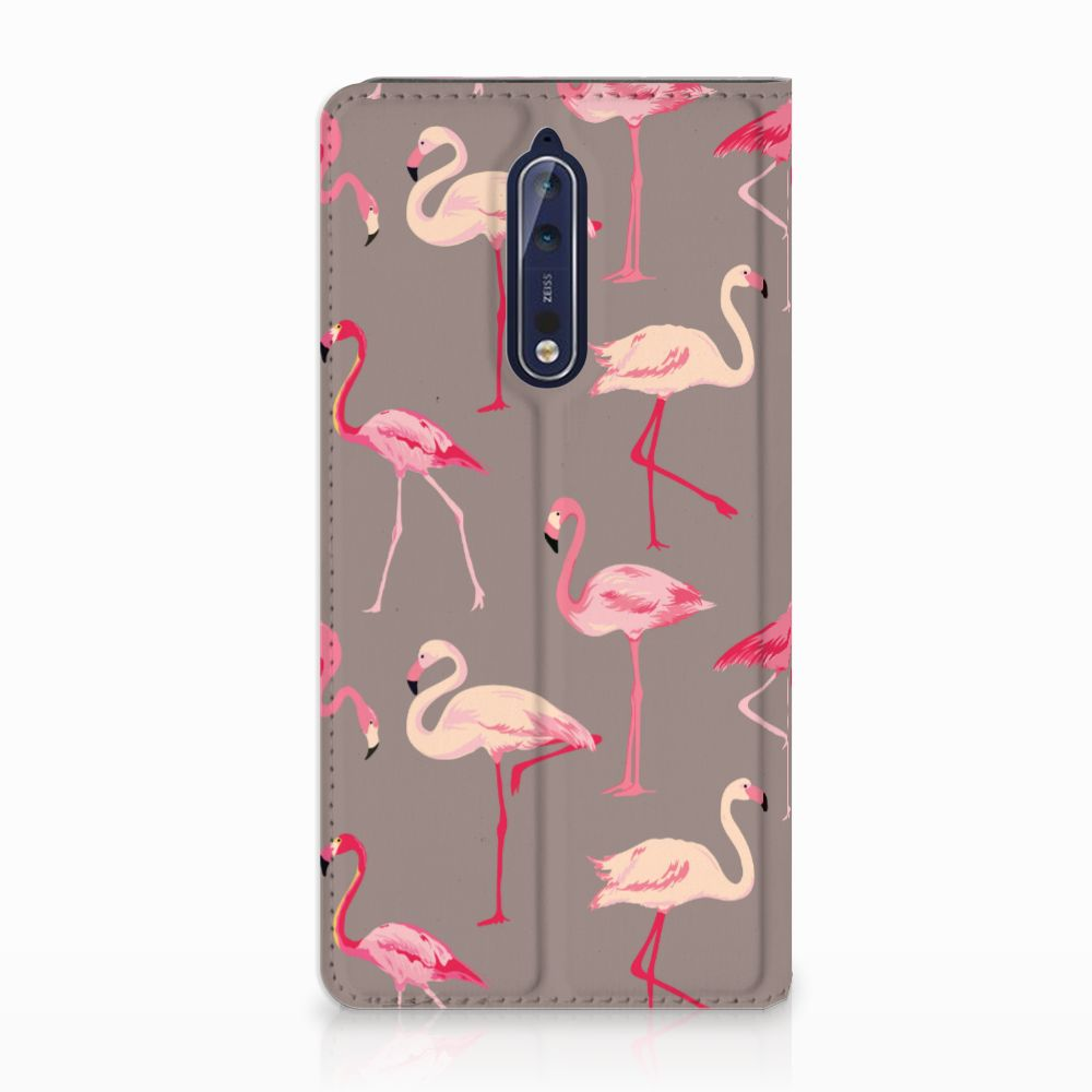 Nokia 8 Uniek Standcase Hoesje Flamingo
