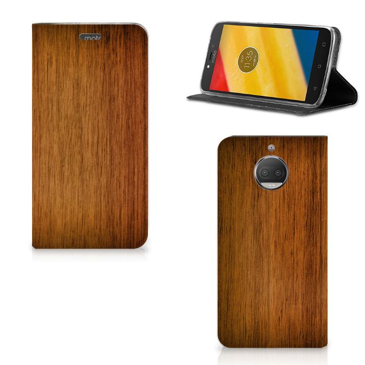 Motorola Moto G5S Plus Uniek Standcase Hoesje Donker Hout