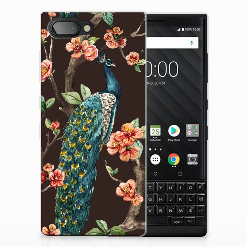 BlackBerry Key2 TPU Hoesje Design Pauw met Bloemen