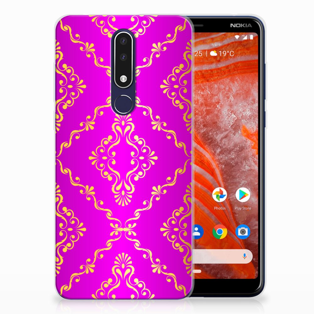Nokia 3.1 Plus Uniek TPU Hoesje Barok Roze