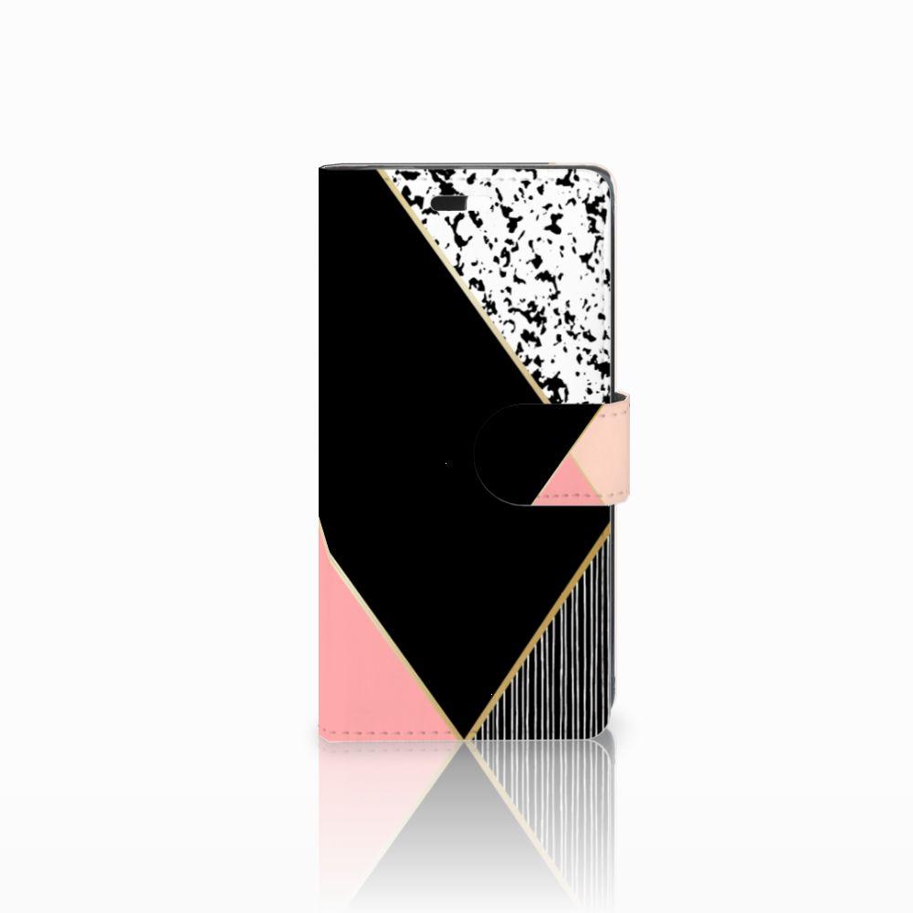 Huawei Y635 Uniek Boekhoesje Black Pink Shapes