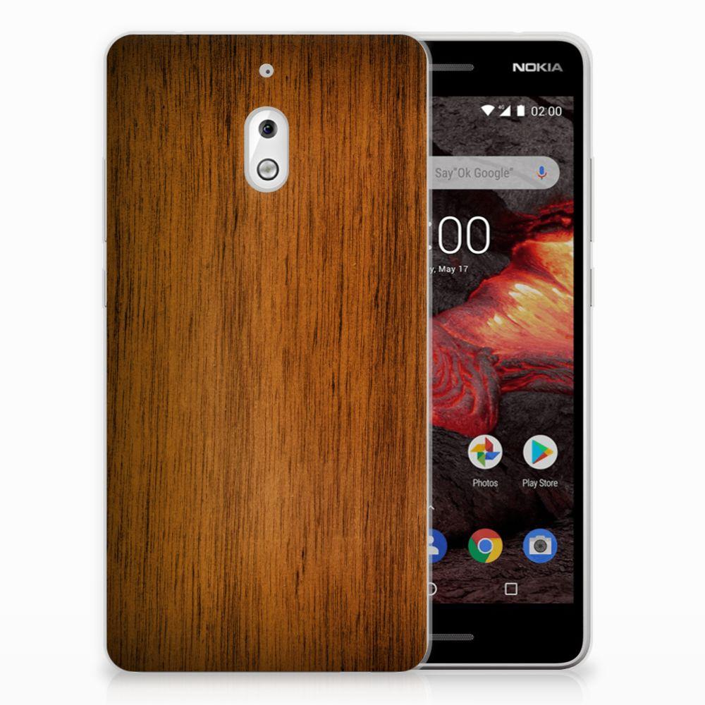 Nokia 2.1 (2018) Bumper Hoesje Donker Hout