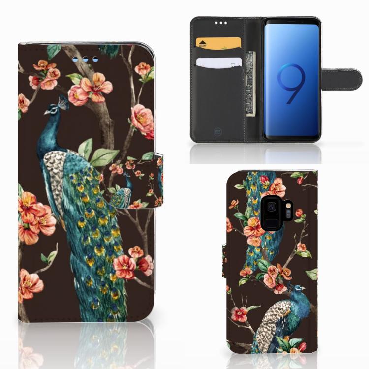 Samsung Galaxy S9 Telefoonhoesje met Pasjes Pauw met Bloemen