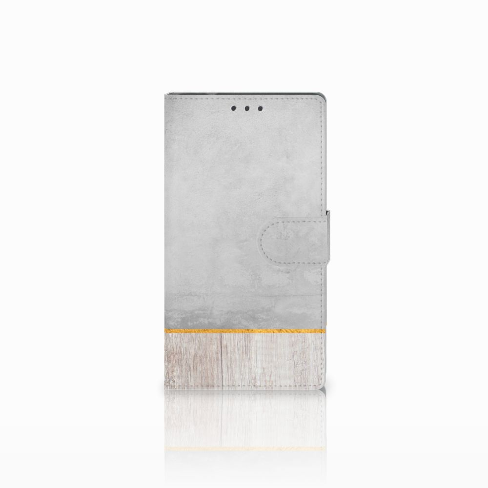 Samsung Galaxy Note 4 Uniek Boekhoesje Wood Concrete