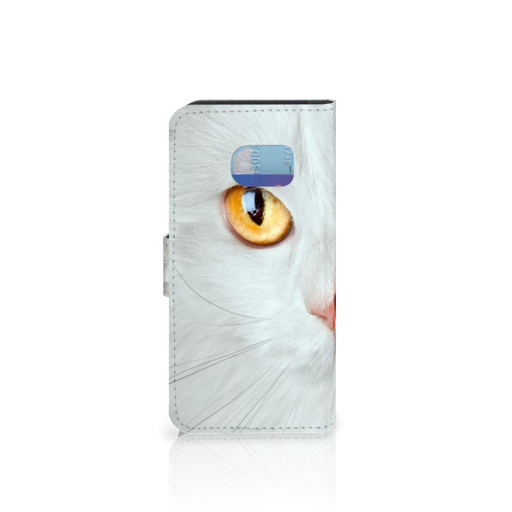 Samsung Galaxy S6 Edge Telefoonhoesje met Pasjes Witte Kat