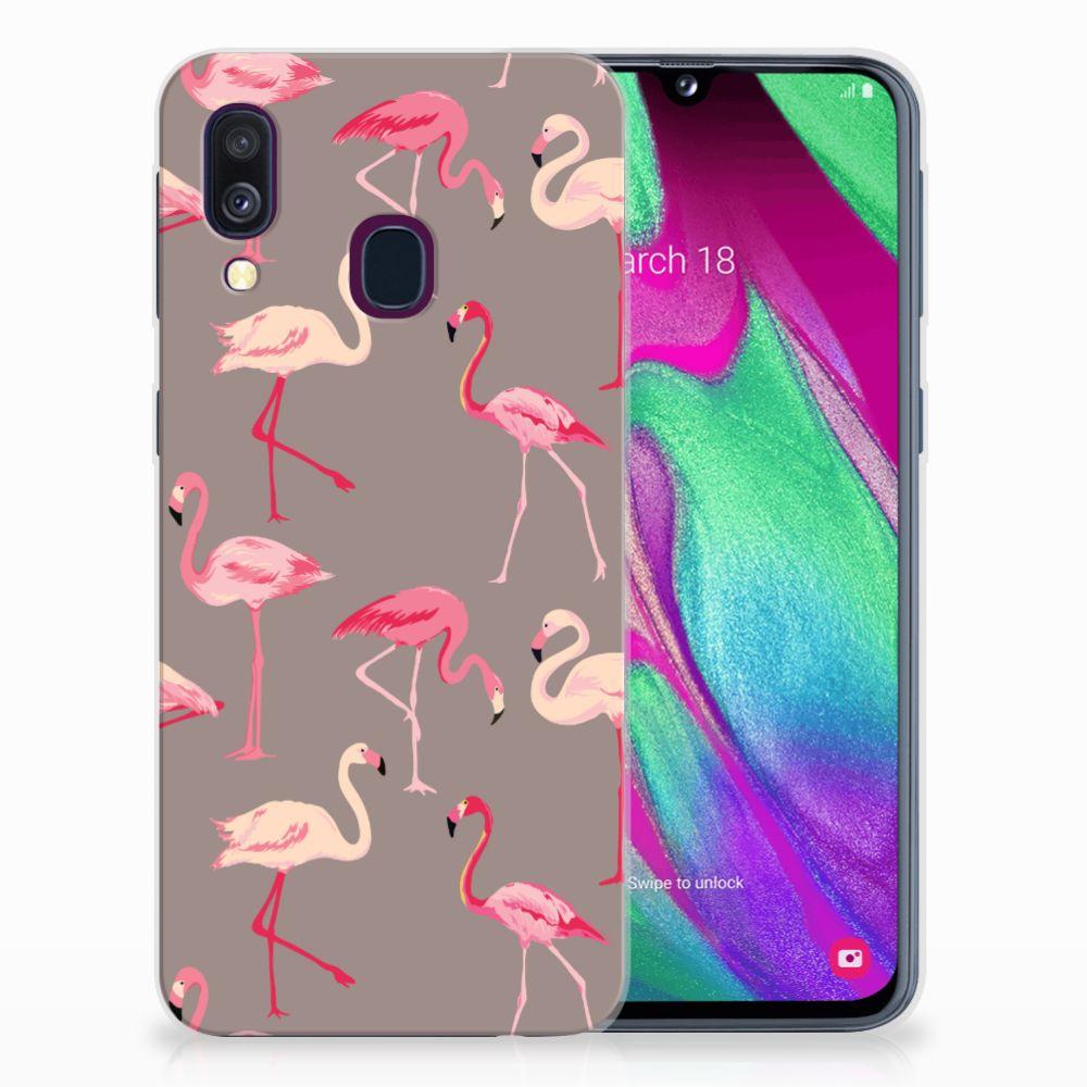 Samsung Galaxy A40 Uniek TPU Hoesje Flamingo