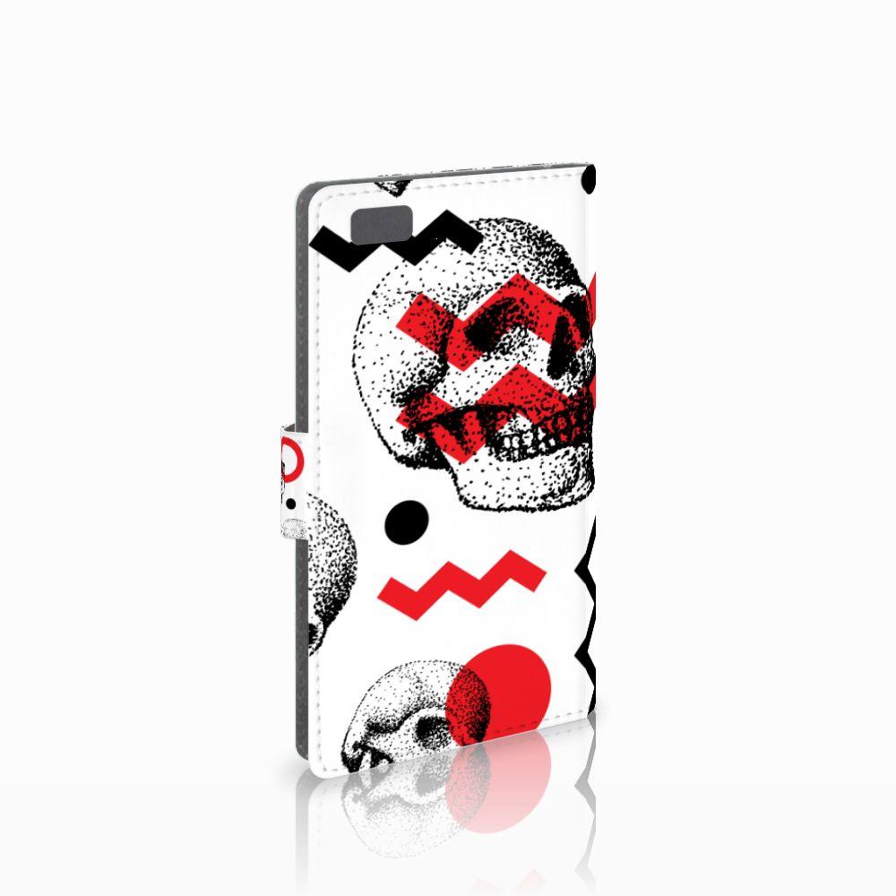 Huawei Ascend P8 Lite Boekhoesje Design Skull Red
