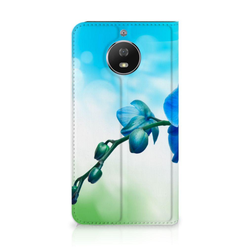 Motorola Moto G5S Standcase Hoesje Design Orchidee Blauw