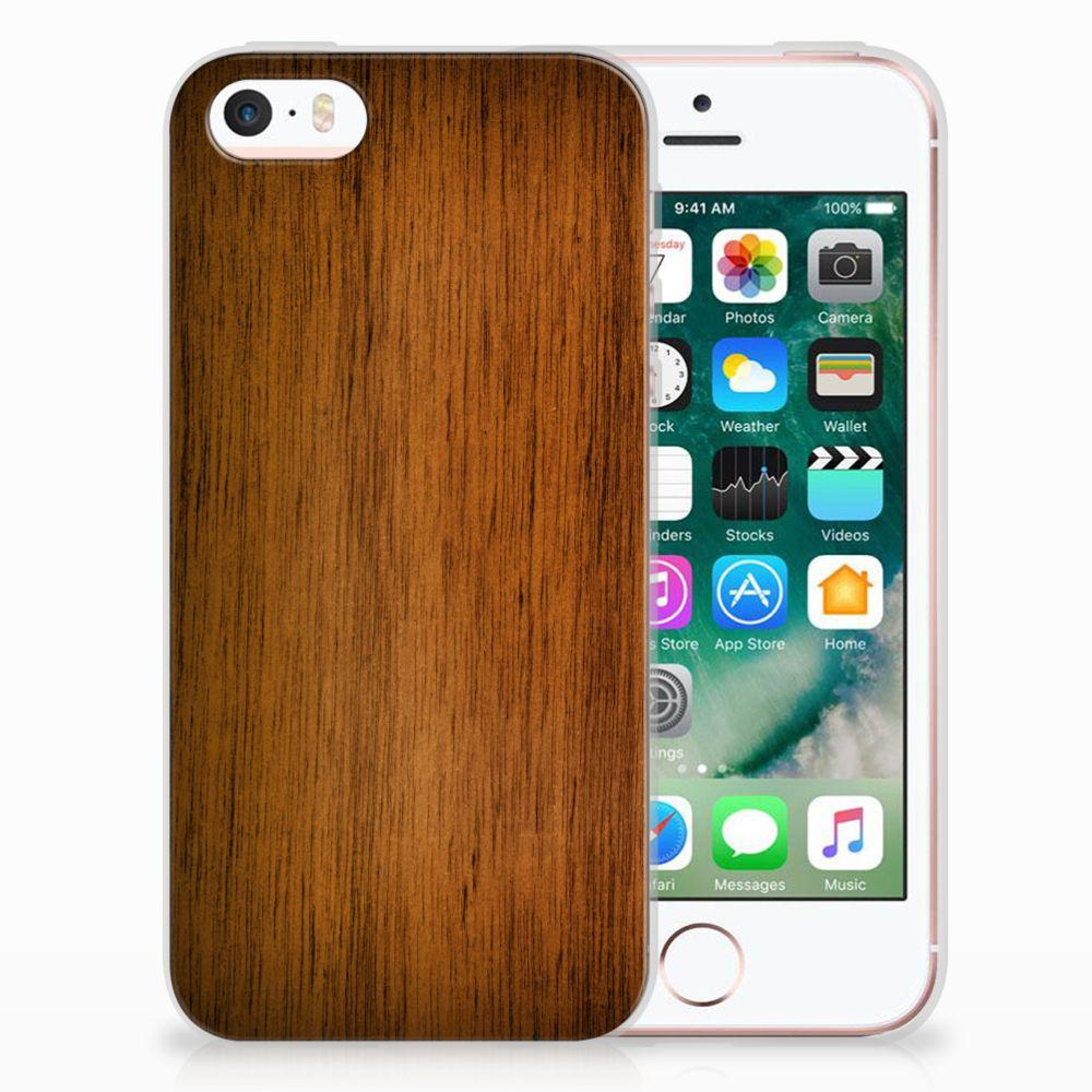 Apple iPhone SE | 5S Uniek TPU Hoesje Donker Hout