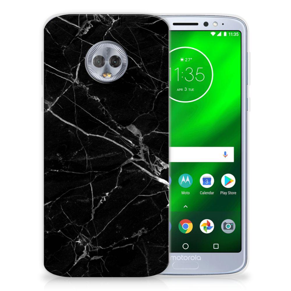Motorola Moto G6 Plus TPU Siliconen Hoesje Marmer Zwart