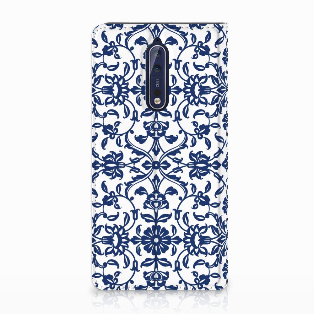 Nokia 8 Standcase Hoesje Flower Blue