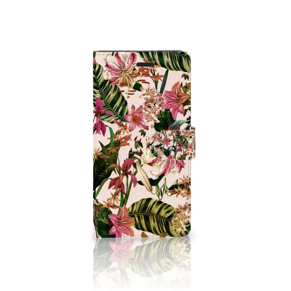 Samsung Galaxy A7 2017 Uniek Boekhoesje Flowers