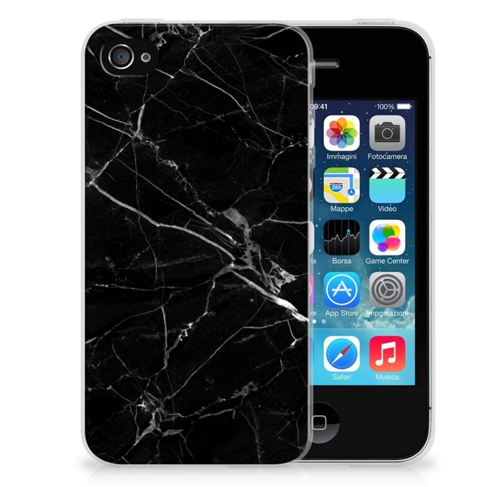 Apple iPhone 4 | 4s TPU Siliconen Hoesje Marmer Zwart