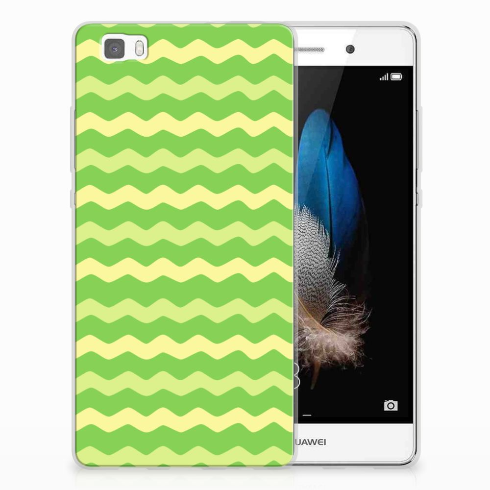 Huawei Ascend P8 Lite TPU Hoesje Design Waves Green