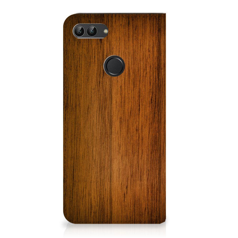 Huawei P Smart Uniek Standcase Hoesje Donker Hout