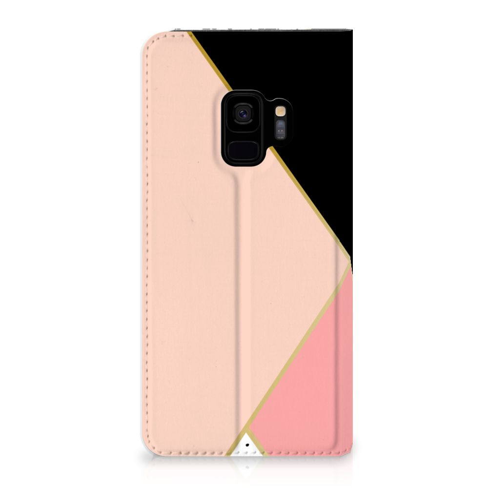 Samsung Galaxy S9 Uniek Standcase Hoesje Black Pink Shapes