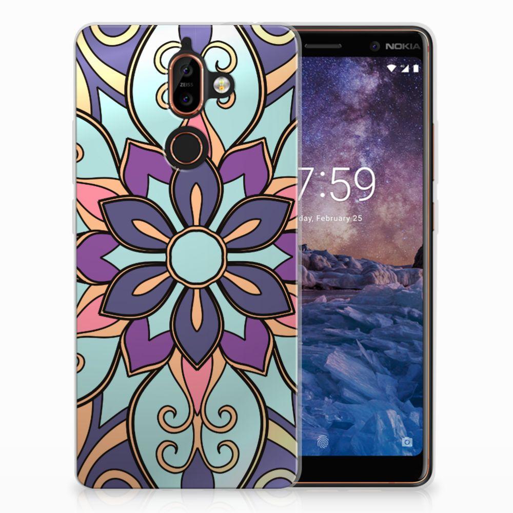 Nokia 7 Plus TPU Hoesje Design Purple Flower
