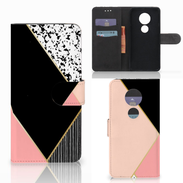 Motorola Moto E5 Play Bookcase Zwart Roze Vormen