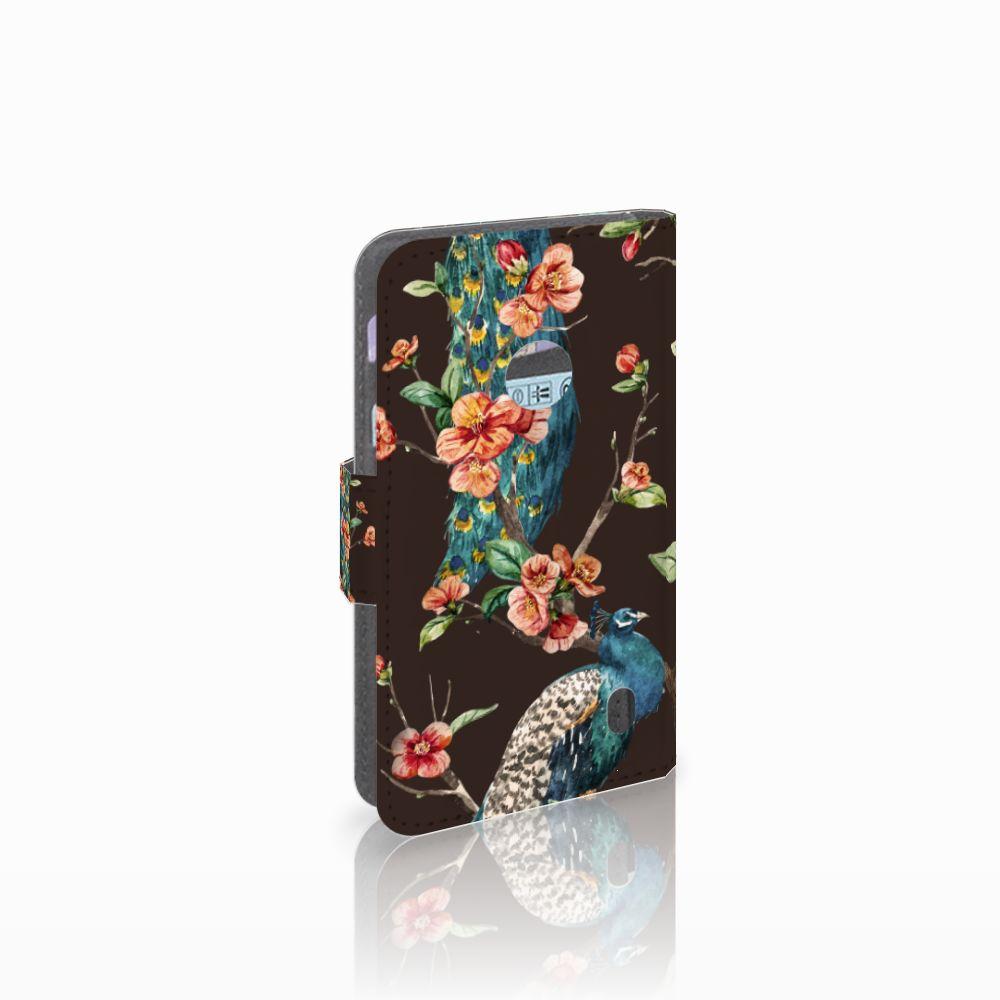 Nokia Lumia 520 Boekhoesje Design Pauw met Bloemen