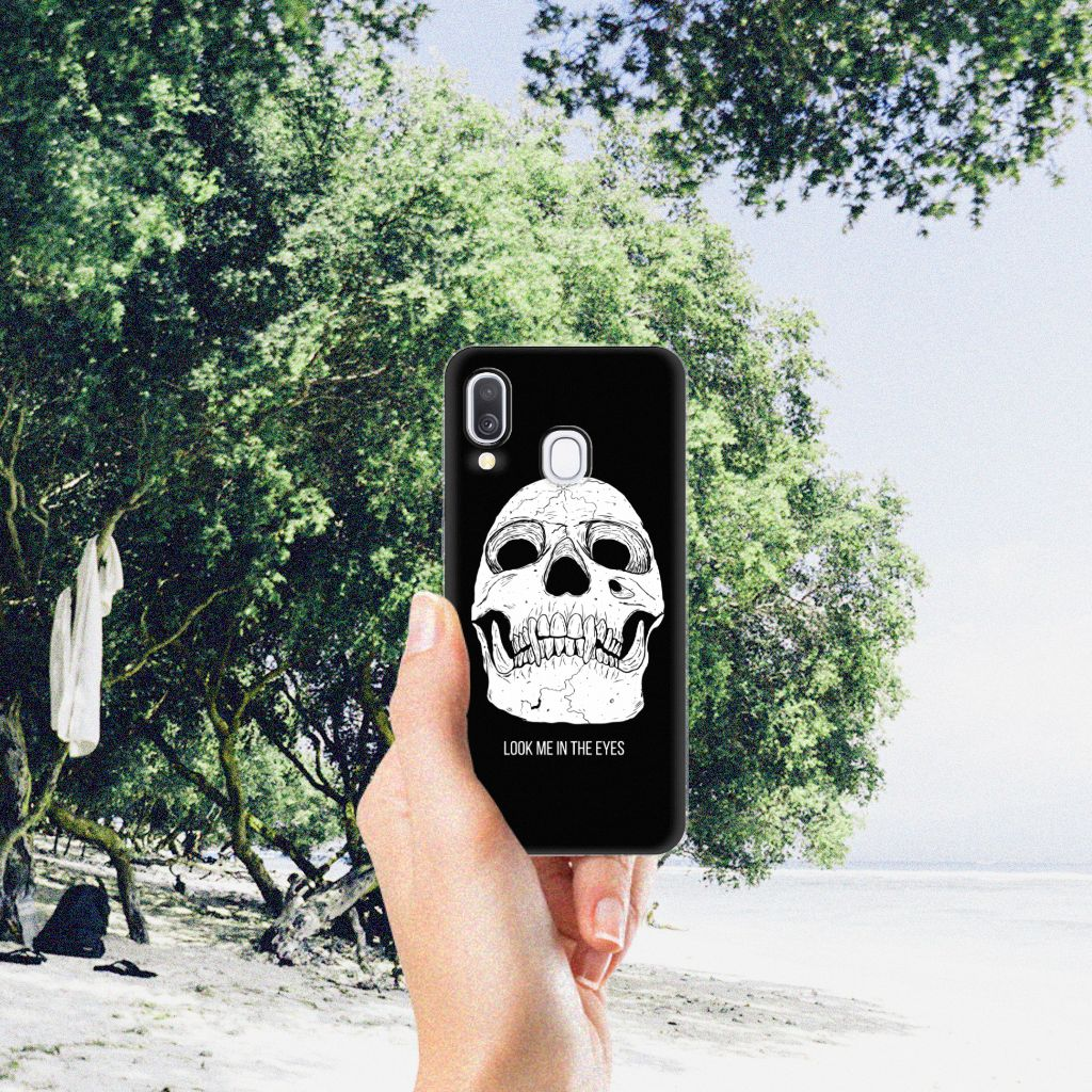 Silicone Back Case Samsung Galaxy A40 Skull Eyes