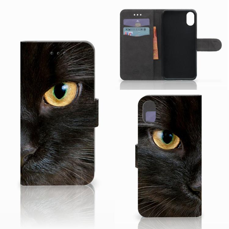 Apple iPhone X   Xs Telefoonhoesje met Pasjes Zwarte Kat
