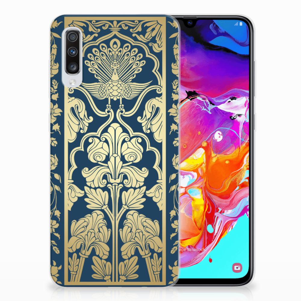 Samsung Galaxy A70 TPU Case Golden Flowers