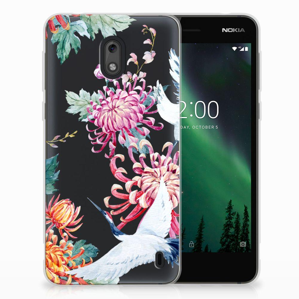 Nokia 2 Uniek TPU Hoesje Bird Flowers