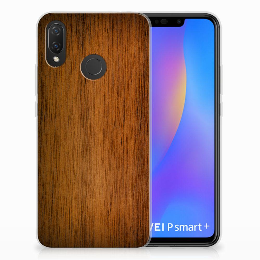 Huawei P Smart Plus Uniek TPU Hoesje Donker Hout