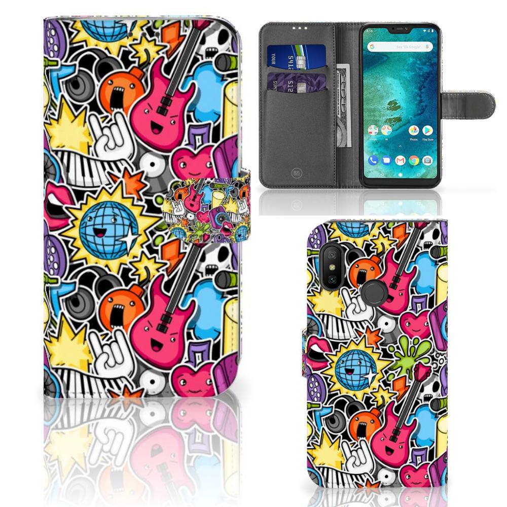 Xiaomi Mi A2 Lite Wallet Case met Pasjes Punk Rock