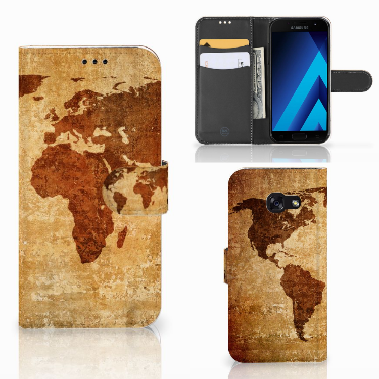 Samsung Galaxy A5 2017 Flip Cover Wereldkaart