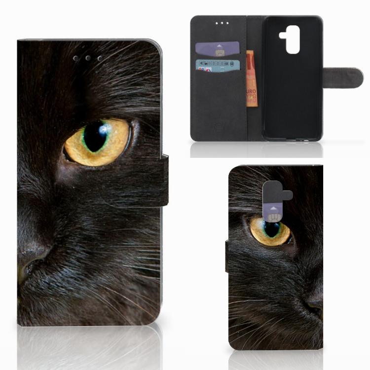 Samsung Galaxy A6 Plus 2018 Telefoonhoesje met Pasjes Zwarte Kat