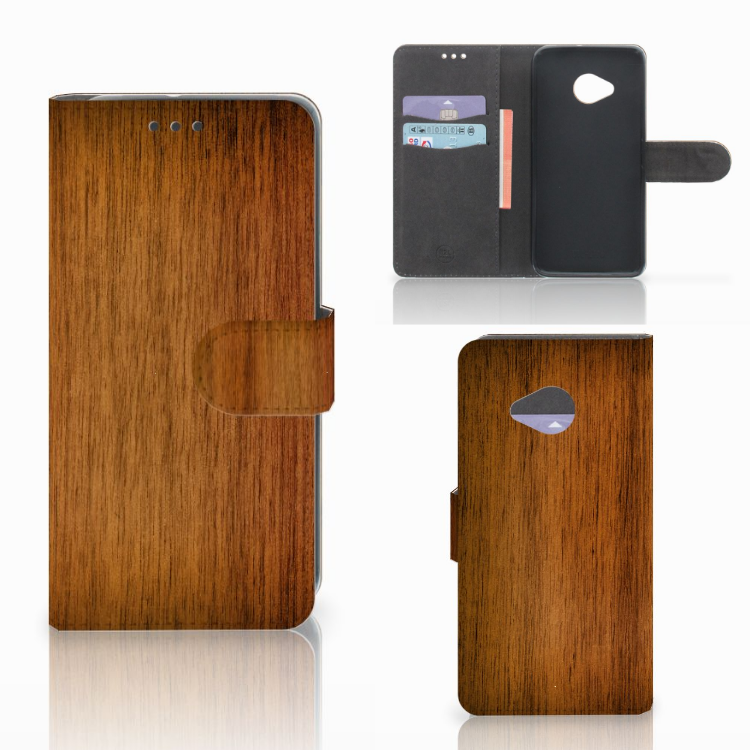 HTC U11 Life Book Style Case Donker Hout