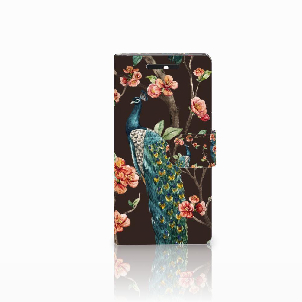 HTC Desire 628 Boekhoesje Design Pauw met Bloemen
